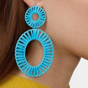 NWT! Turquoise Raffia Dangle Earrings
